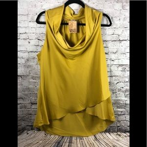 Sioni mustard color cowl neck blouse no sleeve XL